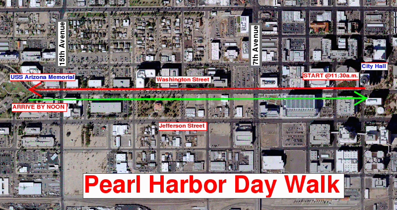 The route of the Pearl Harbor Day Walk