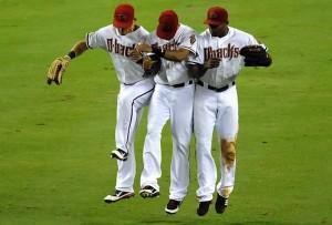 Diamondbacks outfielders celebrate a win