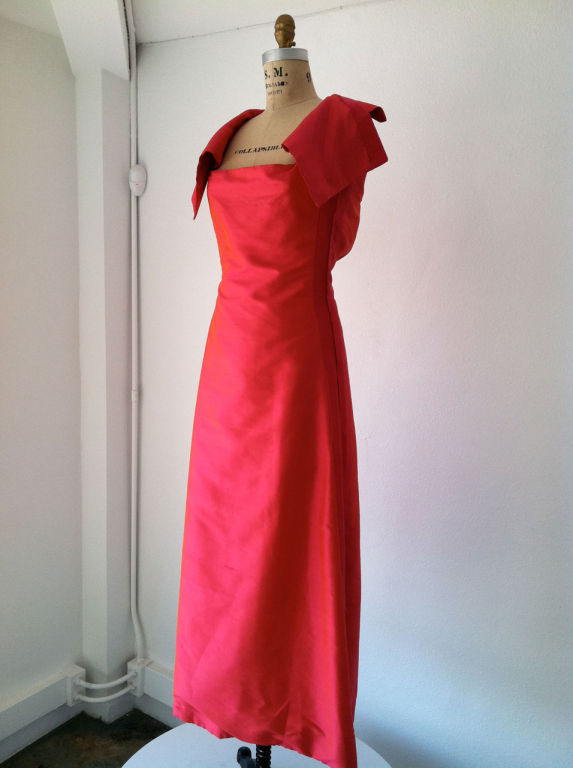 1960's Louis Feraud silk gown in hot pink $1400
