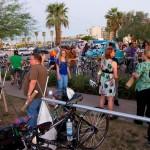 Bike fans beginning to gather outside of Kitchen Sink.