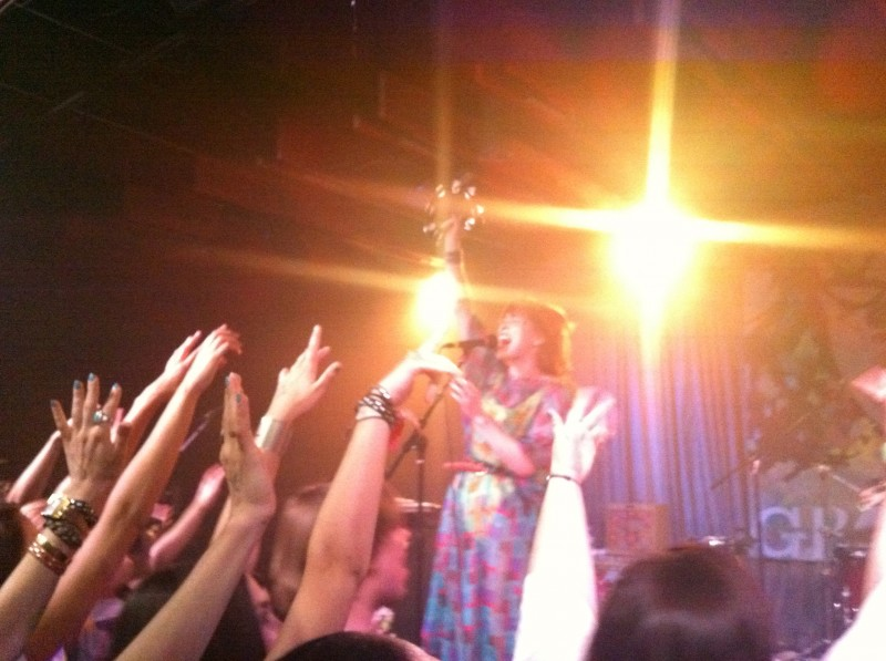 Hannah Hooper of Grouplove and the crowd during the encore.