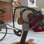A bike rack resembling a fish created by Voigt Metal, curated by Sidewalk Phoenix.