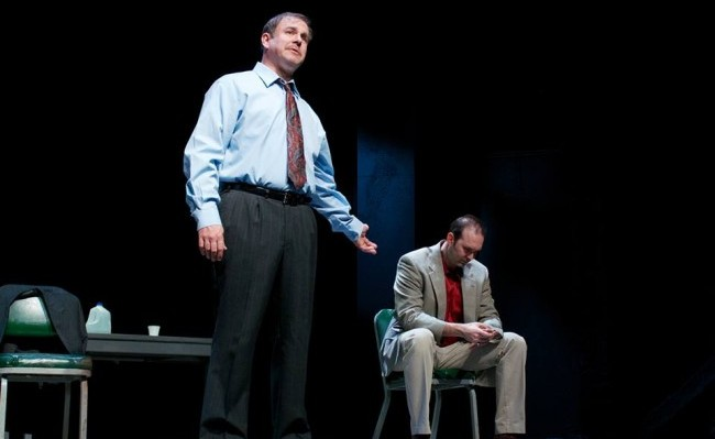 """Christopher Haines (L) with Joseph Kremer in """"A Steady Rain"""" (courtesy Actors Theatre)"""