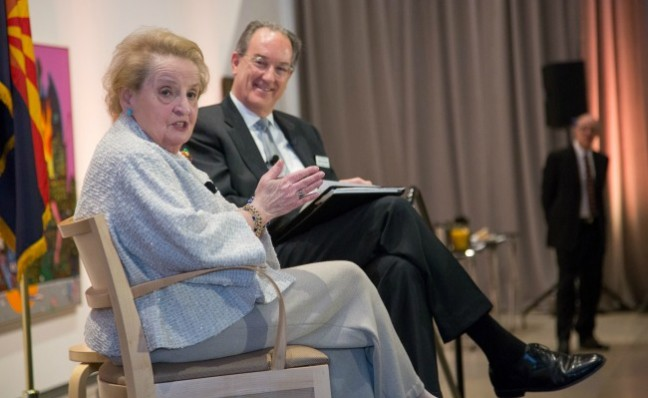 Jim Ballinger interviewing Madeline Albright at January 2014 opening of Read My Pins: The Madeline Albright Collection.