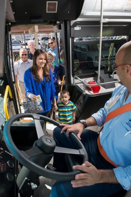Bus passengers boarding