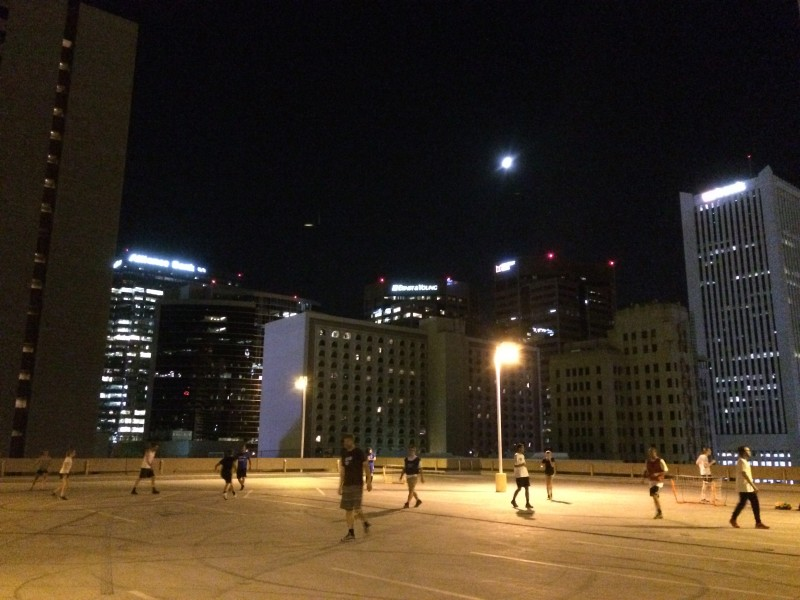 Small Goal Soccer played on a downtown Phoenix rooftop.