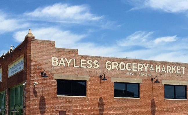 Graphic design on the historic Bayless Grocery building in downtown.