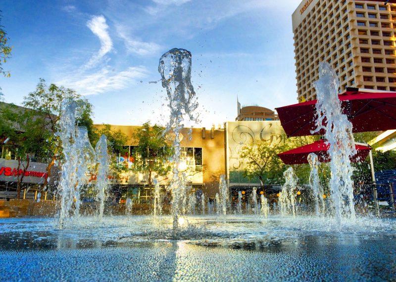 cityscape fountain