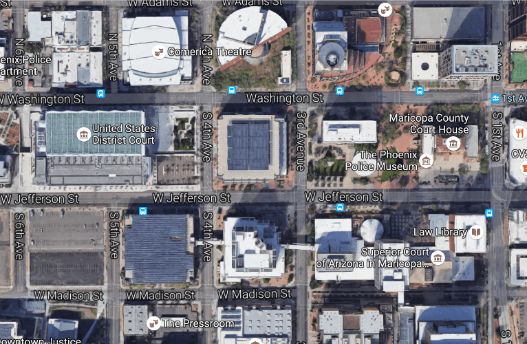 Downtown Phoenix Google Map.