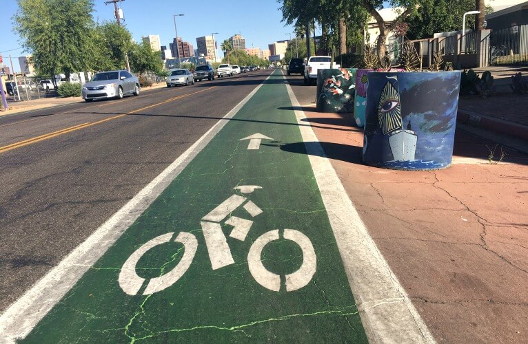 Bike lanes on Grand Avenue.